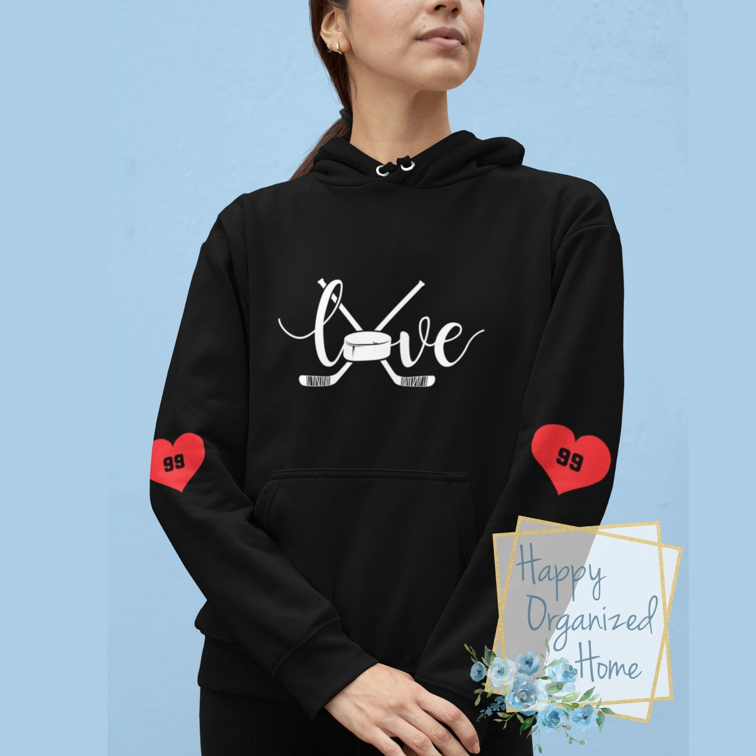 Love Hockey Design - Unisex Personalized Hoodie