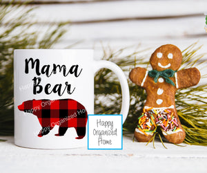 Mama Bear Buffalo Plaid Mug - Christmas Mug