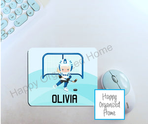 Personalized Girl Hockey Player - Mouse Pad
