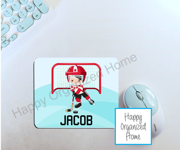 Personalized Boy Hockey Player - Mouse Pad