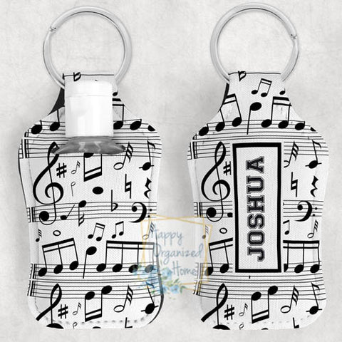 Musical Notes Personalized Hand Sanitizer Holder Key chain. Includes plastic refillable Bottle.