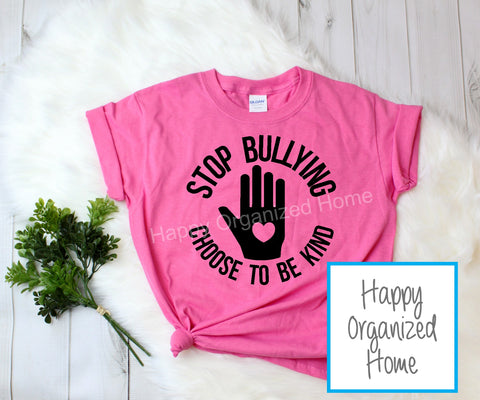 Stop Bullying. Choose to be kind -  Pink Shirt Day T-shirt