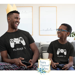 Player 1 Video Game shirts for kids and adults