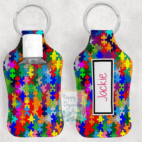 Puzzle Pieces Personalized Hand Sanitizer Holder Key chain. Includes plastic refillable Bottle.