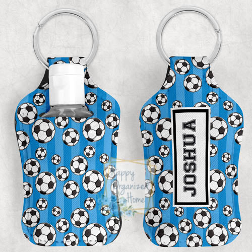 Soccer Personalized Hand Sanitizer Holder Key chain. Includes plastic refillable Bottle.