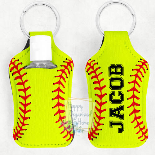 Softball Personalized Hand Sanitizer Holder Key chain. Includes plastic refillable Bottle.