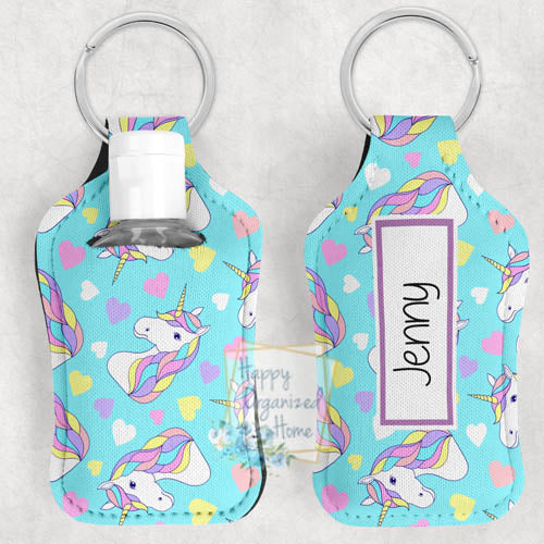 Unicorn Personalized Hand Sanitizer Holder Key chain. Includes plastic refillable Bottle.