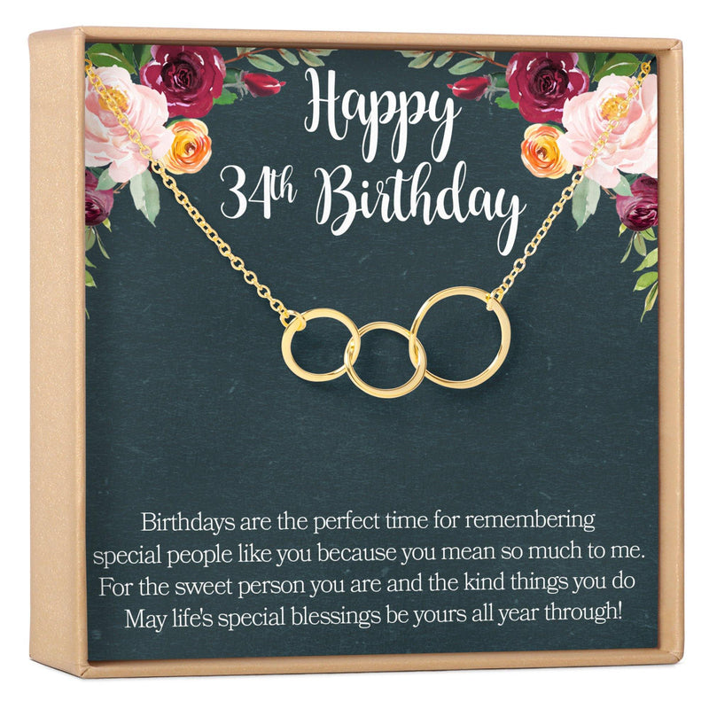 34th Birthday Necklace - Dear Ava, Jewelry / Necklaces / Pendants
