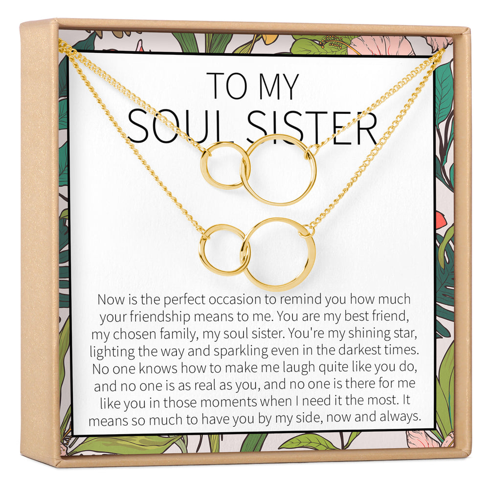 Gold or silver coloured circle necklace soul sister friendship best friend gift