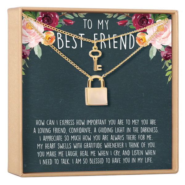 Best Friends Matching Lock and Key Pendants Necklace Set - Dear Ava, Jewelry / Necklaces / Pendants