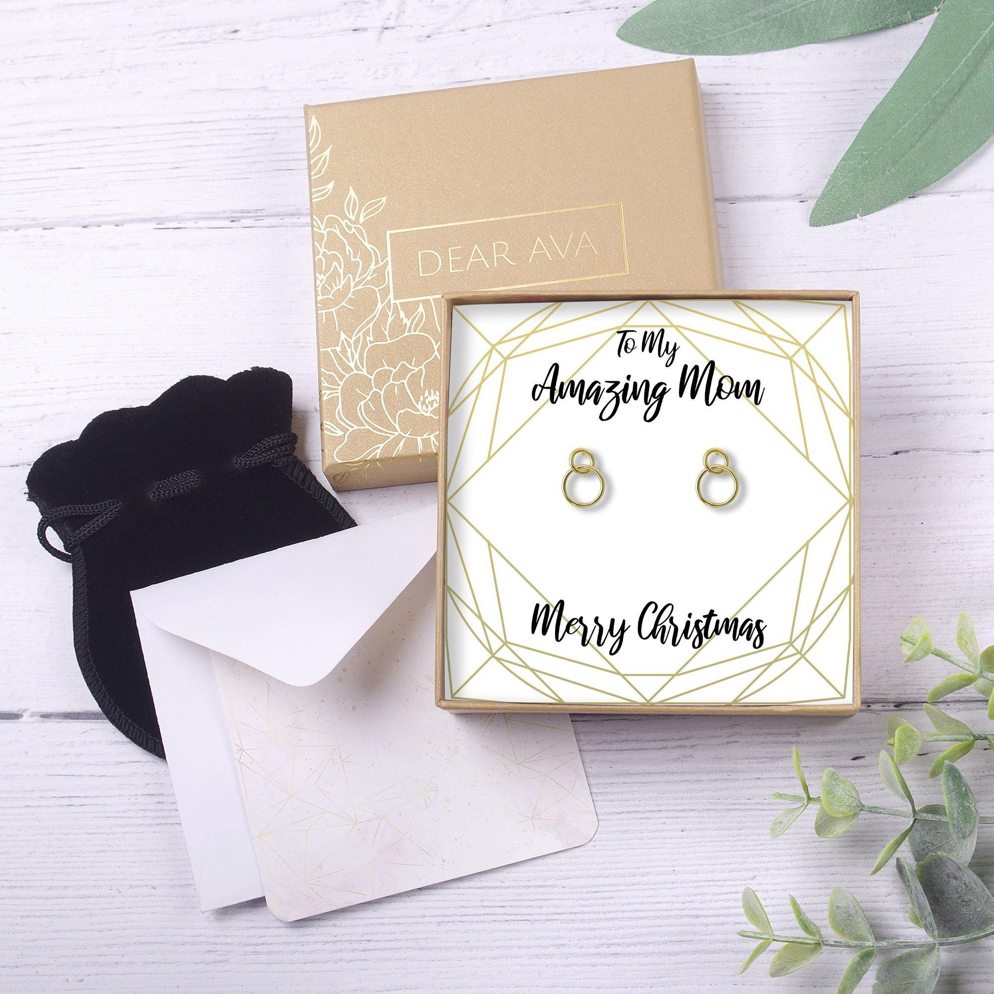 Christmas Gift For Mom Present Earrings Jewelry Xmas Gift Holiday Gift Gift Idea Mother Mom Gift Mother Daughter Gift 2 Interlocking Circles Dear Ava