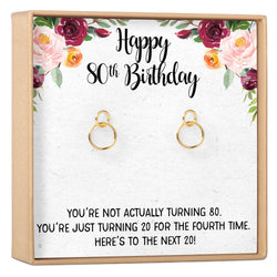 80th Birthday Gift Necklace Earrings