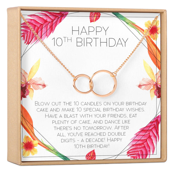 10th Birthday Gift For Girls Present Ten Year Old Girl Necklace Jewelry Bday Idea Daughter Niece 2 Asymmetrical Circles