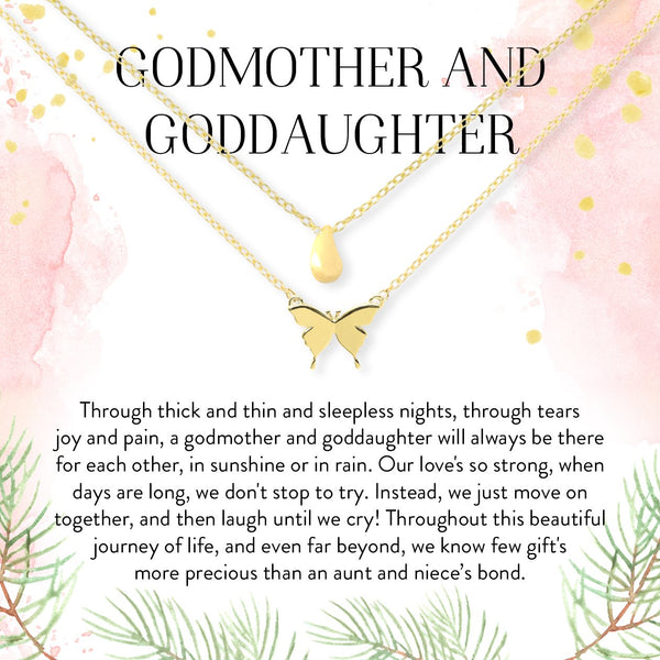 Godmother-Goddaughter Droplet and Butterfly Pendant Necklace Set