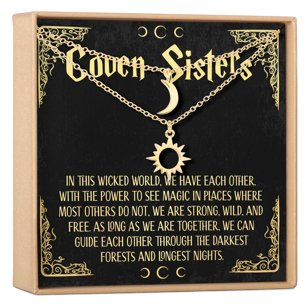 Coven Sisters - Halloween Jewelry Sun and Moon Necklace Set