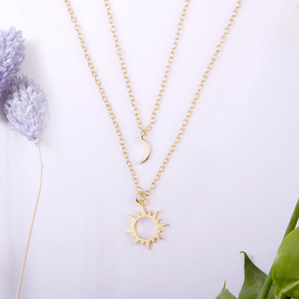 Sun and Moon Celestial Jewelry Necklace Set