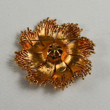 Vintage Signed Celebrity NY Gold Tone Textured Flower Statement 70s Brooch Pin