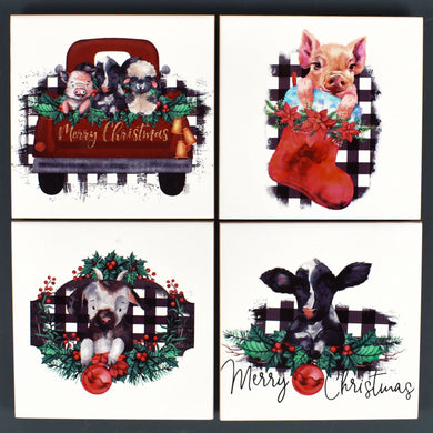 Ceramic Tile Coaster Set of 4 Merry Christmas Farm Animals Stockings