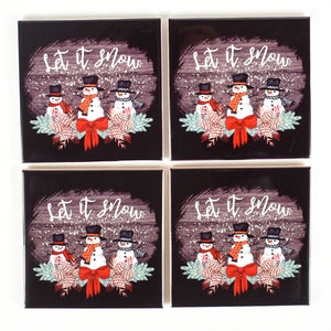 Ceramic Tile Coaster Set of 4 Let it Snow Black Tile Snowmen
