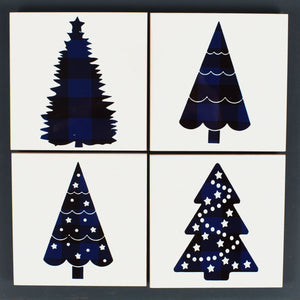 Ceramic Tile Coaster Set of 4 Blue Christmas Trees Christmas Decor