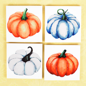 Ceramic Tile Coaster Set of 4 Autumn Fall Pumpkins Halloween
