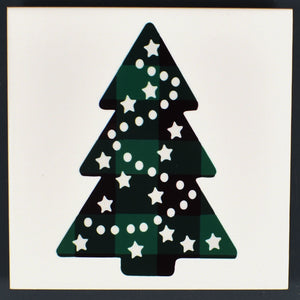 Ceramic Tile Coaster Set of 4 Green Christmas Trees Christmas Decor