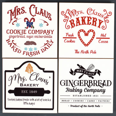 Ceramic Tile Coaster Set of 4 Mrs Claus Bakery Cookies Hot Cocoa Gingerbread