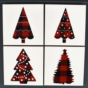 Ceramic Tile Coaster Set of 4 Red Christmas Trees Christmas Decor