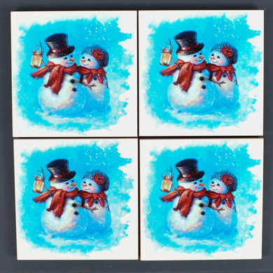 Ceramic Tile Coaster Set of 4 Snowman Couple Christmas Decor