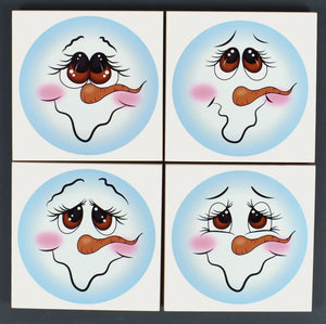 Ceramic Tile Coaster Set of 4 Let it Snow White Tile Snowmen