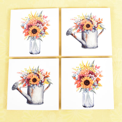 Ceramic Tile Coaster Set of 4 Spring Fall Flowers Mason Jar Watering Can