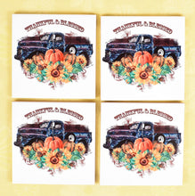 Ceramic Tile Coaster Set of 4 Autumn Fall Pumpkins Sunflowers Truck