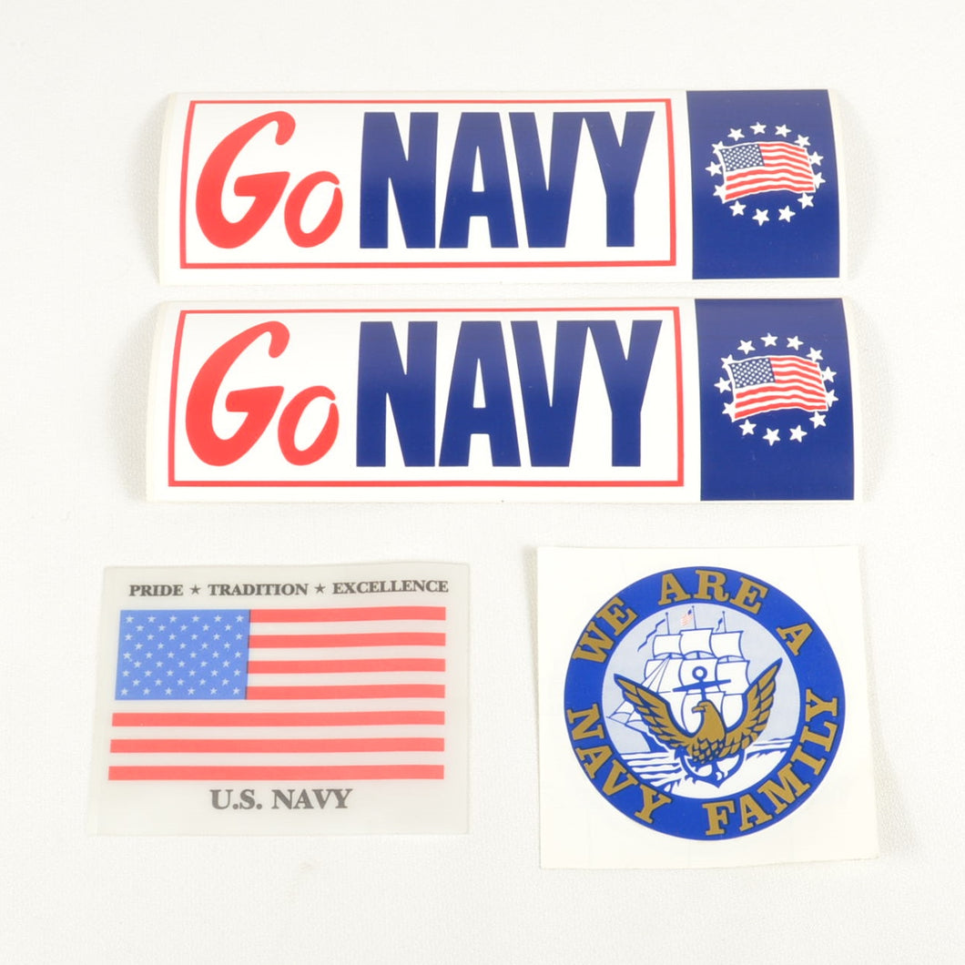 VINTAGE LOT - NAVY FAMILY / US NAVY DECALS + 2 UNITED STATES GO NAVY STICKERS