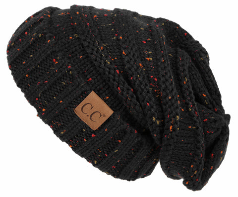 C.C Exclusives Oversized Slouchy Beanie - Confetti Black