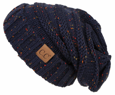 C.C Exclusives Oversized Slouchy Beanie - Confetti Navy