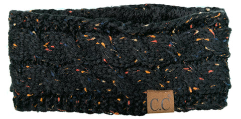 C.C Exclusives Fuzzy Lined Head Wrap - Confetti Black