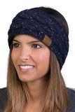 C.C Exclusives Fuzzy Lined Head Wrap - Confetti Navy