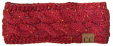 C.C Exclusives Fuzzy Lined Head Wrap - Confetti Burgundy