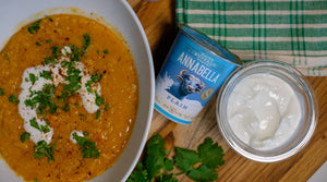 Yellow Split Pea Soup with Tomato, Cumin and Annabella Water Buffalo Yogurt