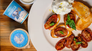 Roasted Tomato Bruschetta with Yogurt Cheese from Annabella Water Buffalo Yogurt