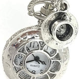 steampunk, pocket watch, watch, pendant watch, stop watch, silver, alice in wonderland, silver plated, victorian, filigree, silver chain, necklace, necklace watch, gothic, goth, white rabbit, teapot, cheshire cat, queen of hearts