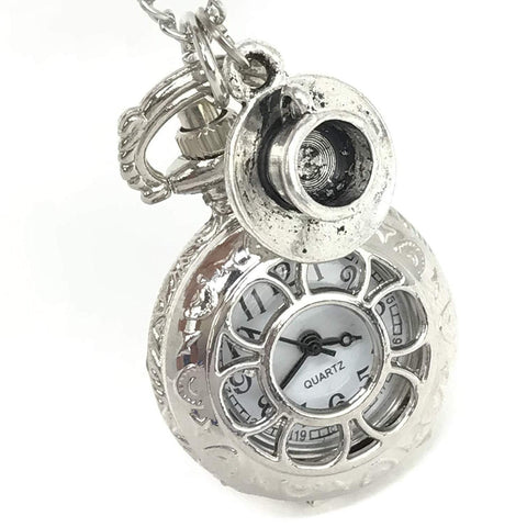 Steampunk Pocket Watch with Tea Cup