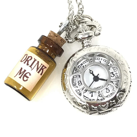 Steampunk Pocket Watch with Drink Me Vial