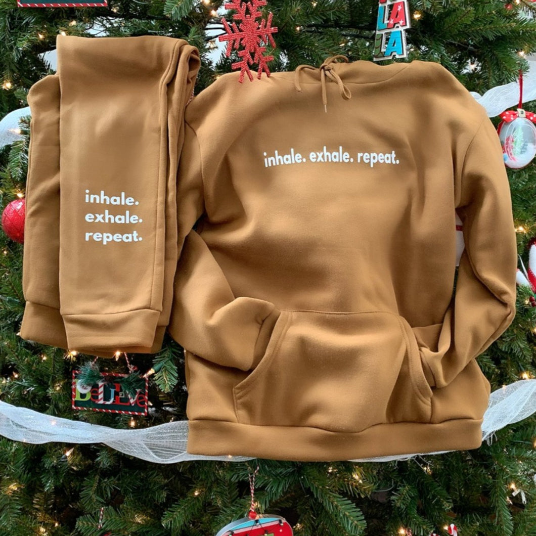 Golden Tan 'inhale. exhale. repeat.' Hoodie Set
