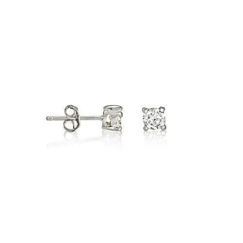 Round Brilliant Cut Sterling Silver CZ Stud Earrings ~ 4mm ~