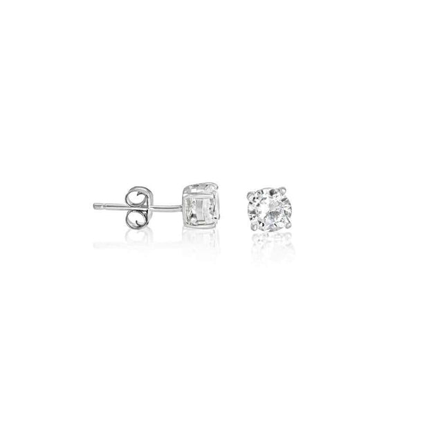 Round Brilliant Cut Sterling Silver CZ Stud Unisex Earrings ~ 5mm ~