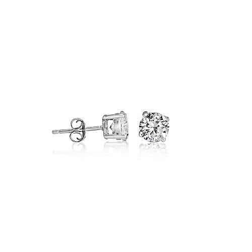 Round Brilliant Cut Sterling Silver CZ Stud Unisex Earrings ~ 6mm ~ image 1