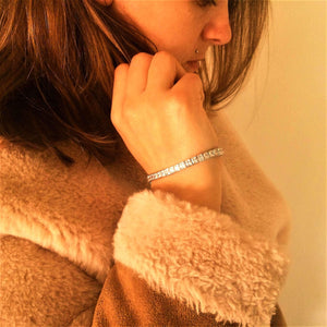 Channel Set Princess Cut CZ Silver Tennis Bracelet - G.D.Morgan Jewellery Collection