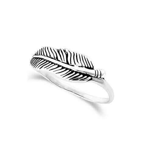 women's silver feather ring spritual