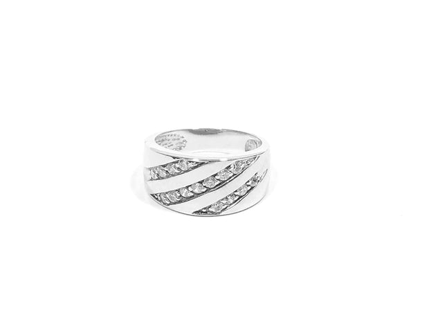 Men's Silver CZ Stripe Ring